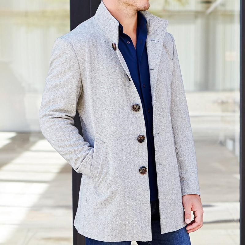 Light Brown Herringbone Overcoat