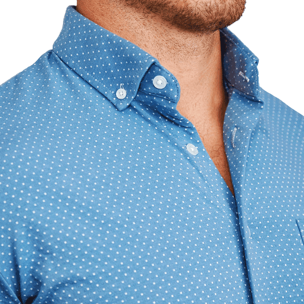 """The Kinney"" Teal with White Dots Casual Button Down"