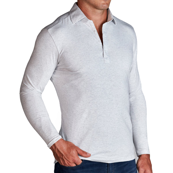"""The Nolan"" Heathered White Long Sleeve Polo"