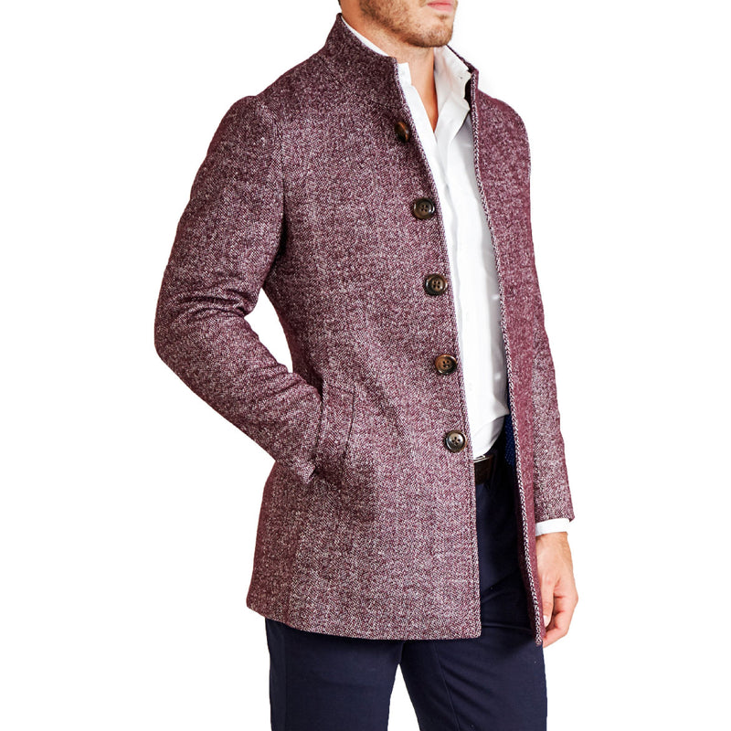 Maroon Open Button Overcoat