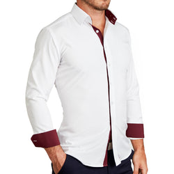 """The Mason"" White with Maroon Accents"