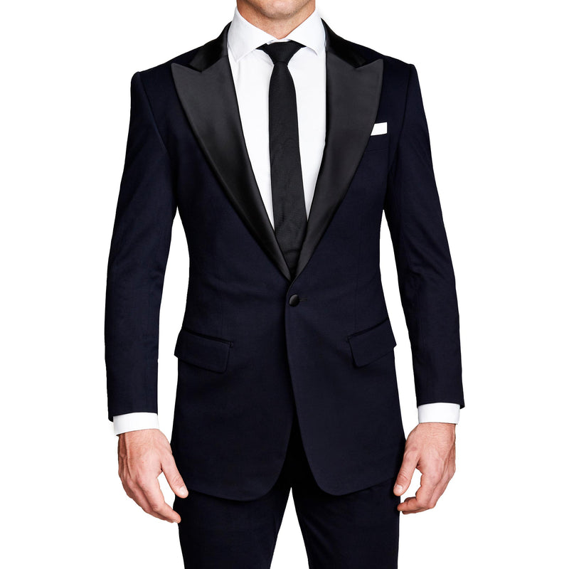 Athletic Fit Stretch Tuxedo - Navy with Peak Lapel