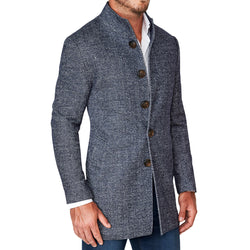 Navy Herringbone Overcoat