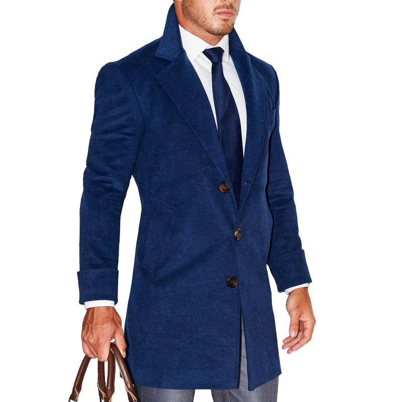 Navy Open Button Overcoat