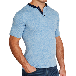 """The Grady"" Baby Blue with Navy Collar Short Sleeve Tech Henley"