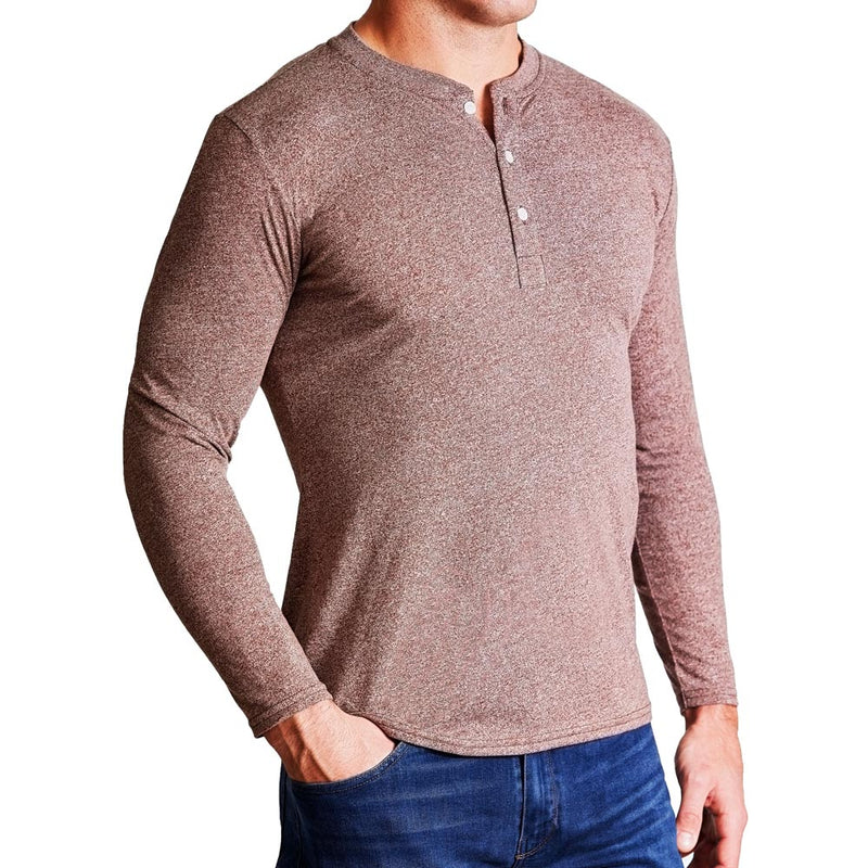 """The Woods"" Heathered Brown Henley"