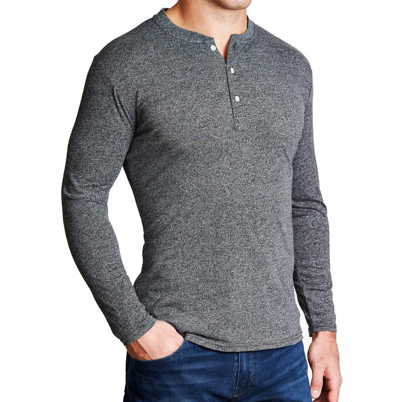 """The Potter"" Heathered Charcoal Henley"