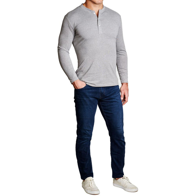 """The Boyer"" Heathered Grey Henley"