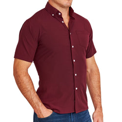 """The Carr"" Solid Maroon with White Buttons"