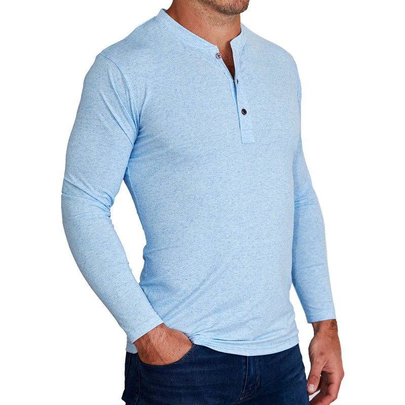 """The Brewer"" Light Blue Long Sleeve Henley"