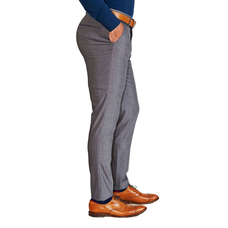 Athletic Fit Stretch Suit Pants - Heathered Grey