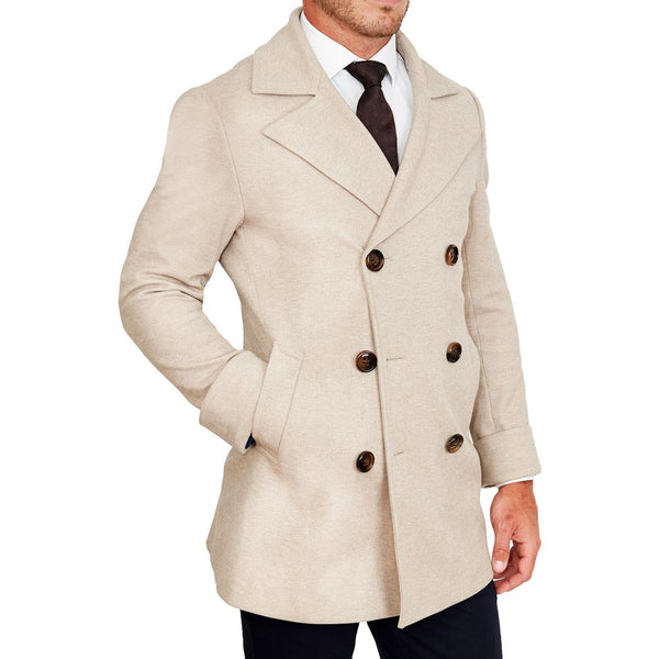 Tan Double-Breasted Peacoat