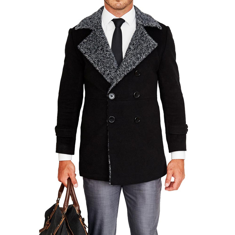 Limited Edition: Black Double-Breasted Peacoat with Grey Fur
