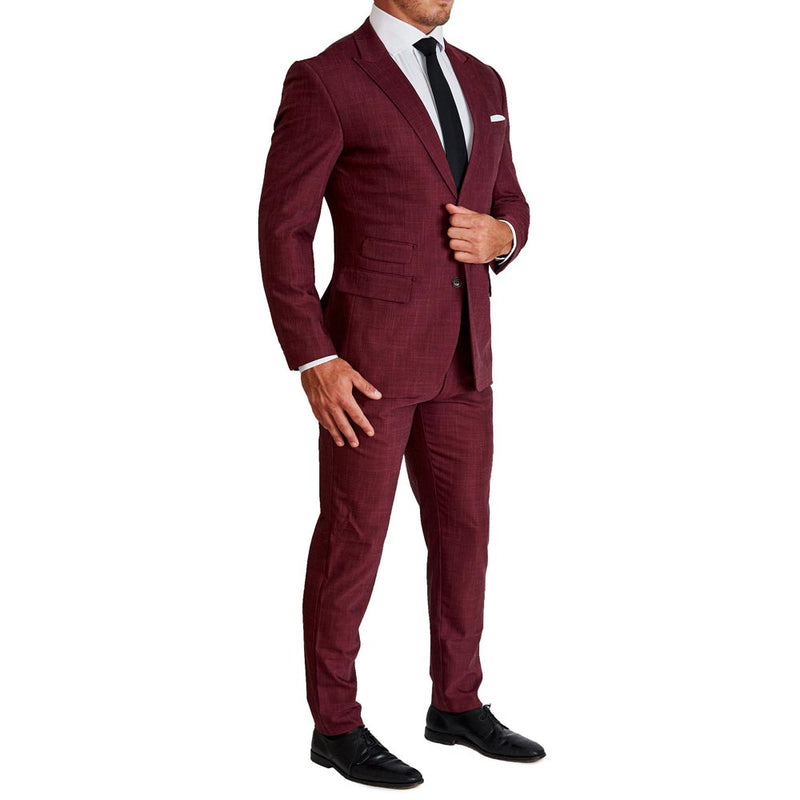 Athletic Fit Stretch Suit - Heathered Maroon (4-Week Lead Time)