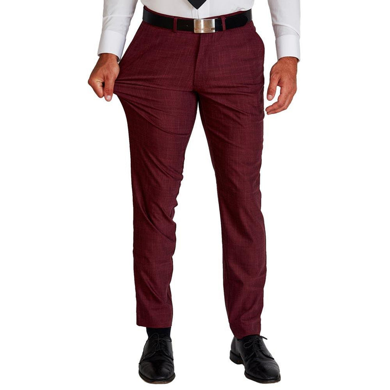 Athletic Fit Stretch Suit Pants - Maroon (4-Week Lead Time)