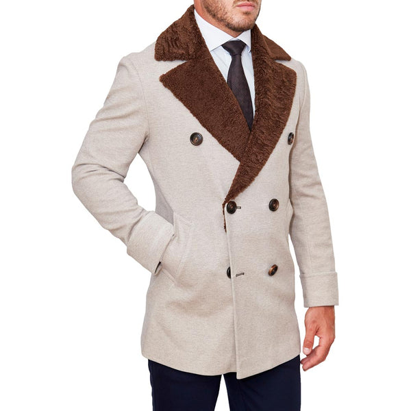 Limited Edition: Tan Double-Breasted Peacoat with Brown Fur (Ships in 4 Weeks)