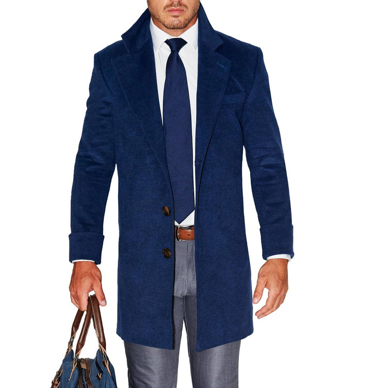 Navy Open Button Overcoat (4-Week Lead-Time)