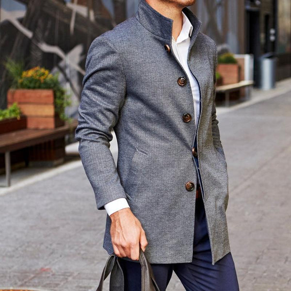 Dark Grey Herringbone Overcoat