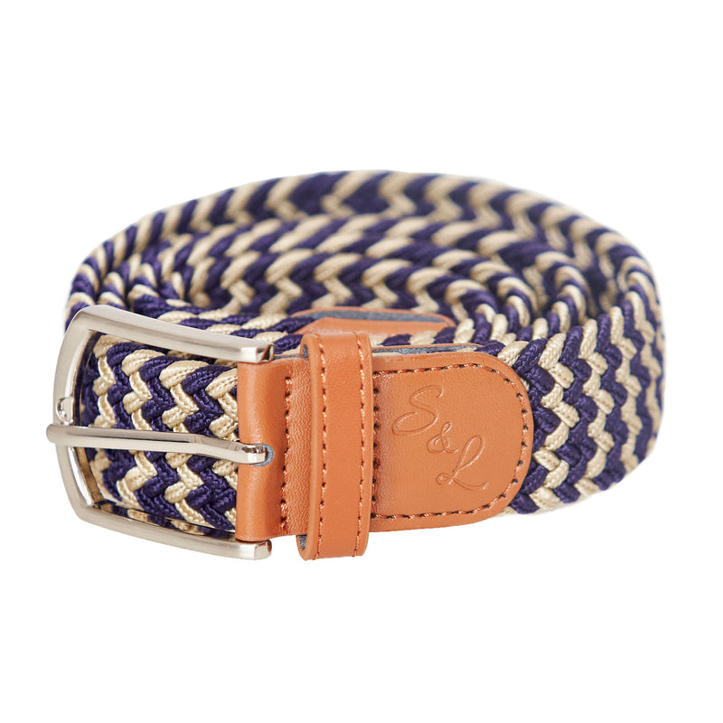 Stretch Belt - Navy & Light Brown