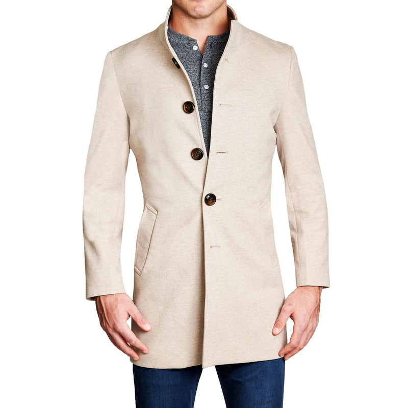 Tan Open Button Overcoat