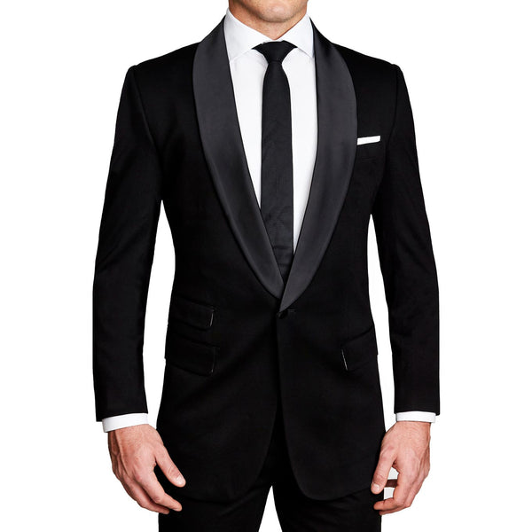 Athletic Fit Stretch Tuxedo - Black with Shawl Lapel