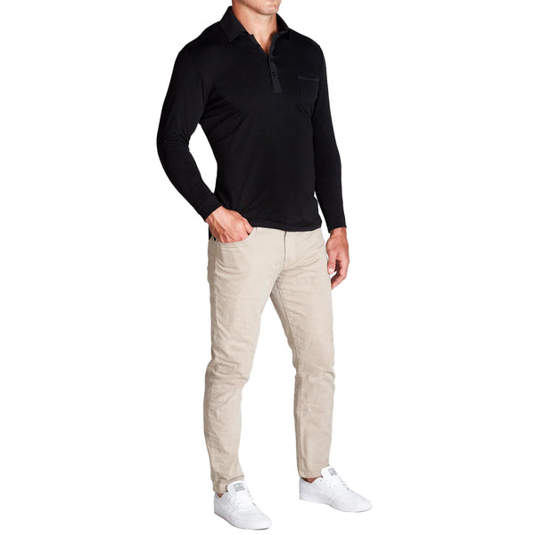 """The Woodford"" Black Long Sleeve Polo"