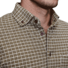 """The Bowie"" Heathered Brown with White Casual Button Down"