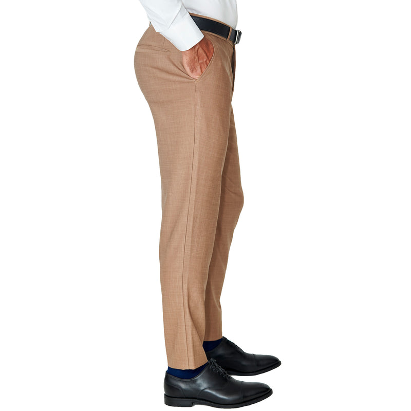 Athletic Fit Stretch Suit Pants - Heathered Cappuccino