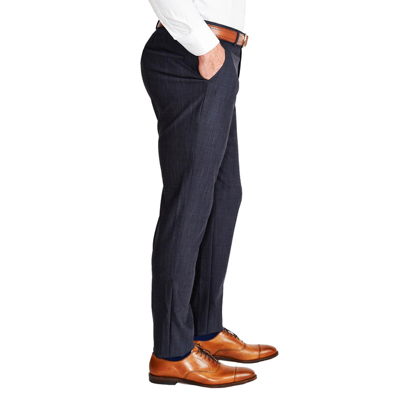 Athletic Fit Stretch Suit Pants - Heathered Midnight Navy