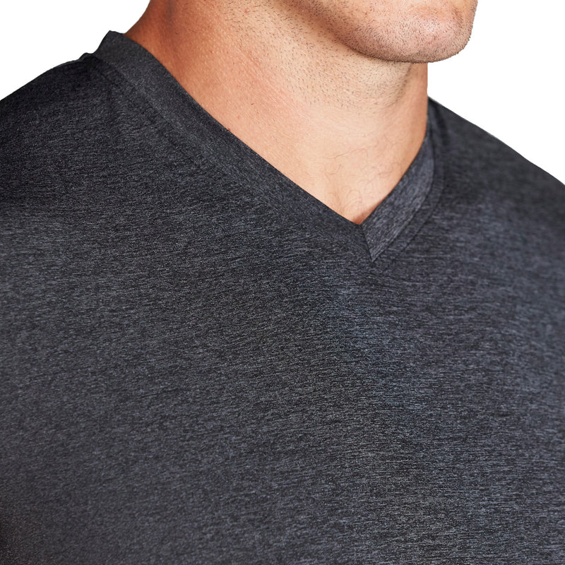 """The Chance"" Heathered Charcoal Tech Short Sleeve V-Neck"