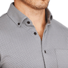 """The Clayton"" Grey with White Dots Casual Button Down"