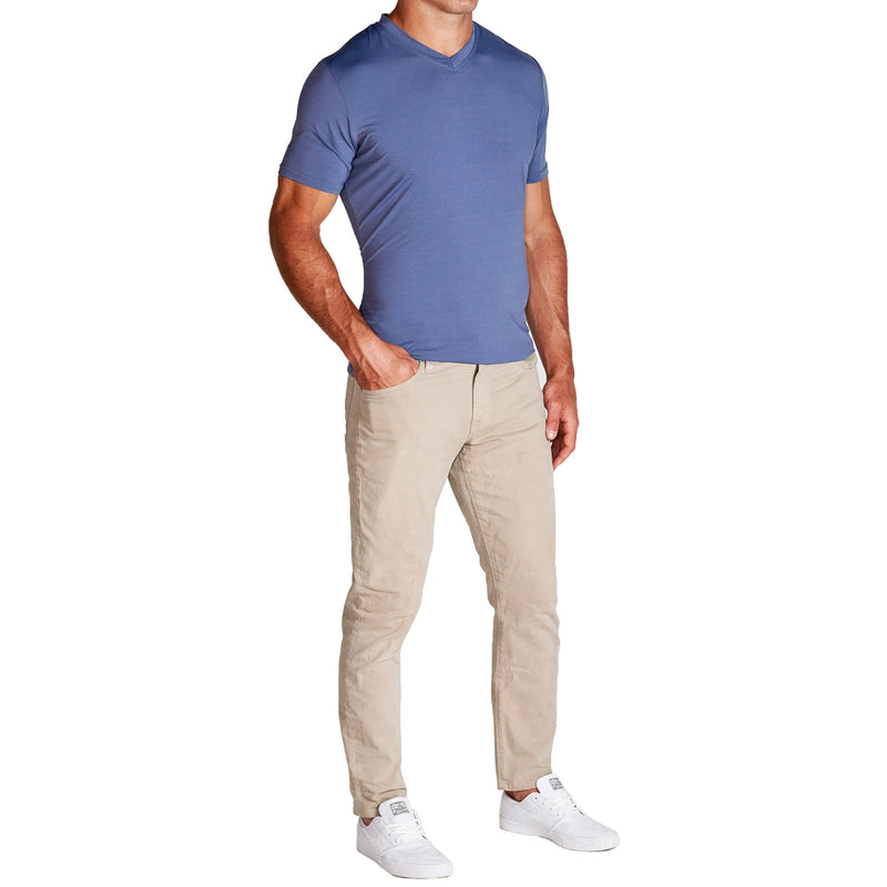 """The Baker"" Heathered Steel Blue Tech Short Sleeve V-Neck"