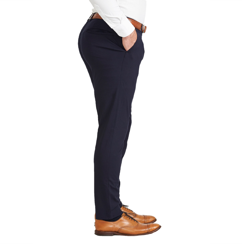Athletic Fit Stretch Suit Pants - Navy