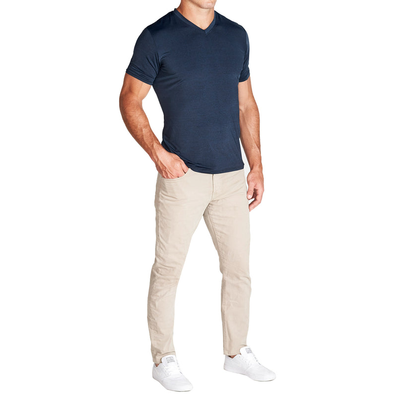 """The Houston"" Heathered Deep Navy Tech Short Sleeve V-Neck"