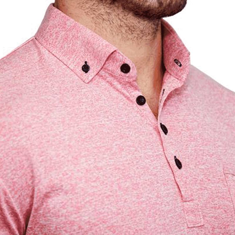 """The Santana"" Heathered Pink Tech Polo"