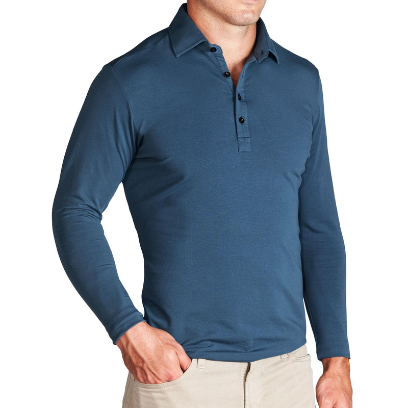 """The Hank"" Slate Blue Long Sleeve Polo"