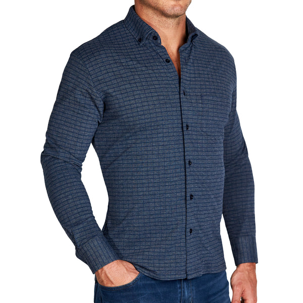 """The William"" Navy Windowpane Casual Button Down"