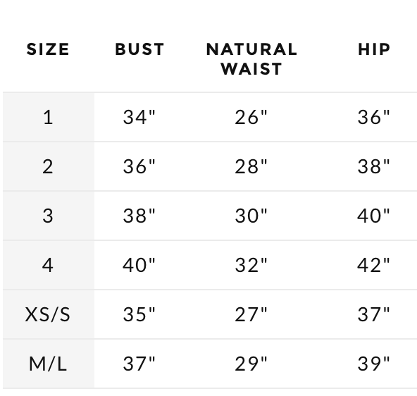 Stone Cold Fox Size guide