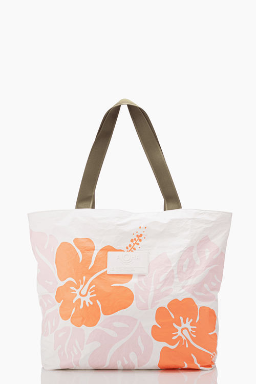ALOHA Big Island hibiscus day tripper tote