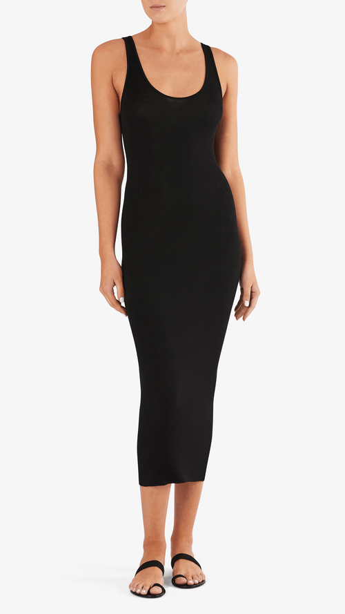 Enza Costa Rib tank dress in black