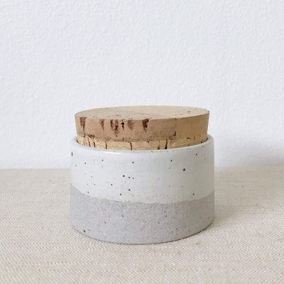 Humble Ceramics Canister 3.5 x 2 in greystone / snow white