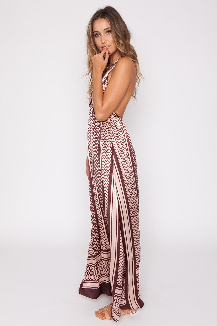 Lotta || Saladin Halter maxi dress in pink/brown