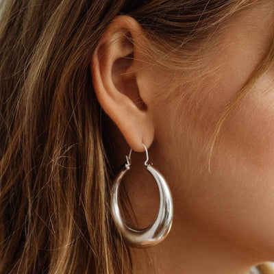 Luv AJ Casimir tube hoop earrings in silver