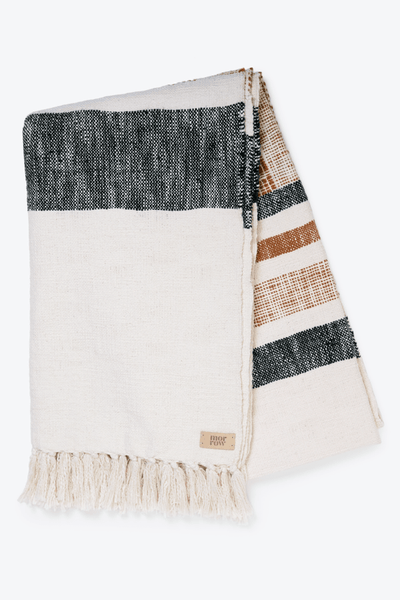 Morrow Soft Goods Como throw blanket in rust / black / cream