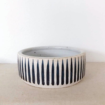 Mquan Dog bowl in indigo stripes