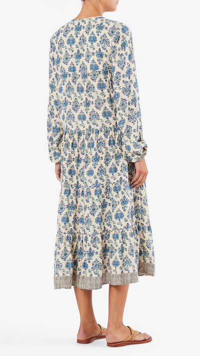 Natalie Martin Elisha dress in cyprus print blue