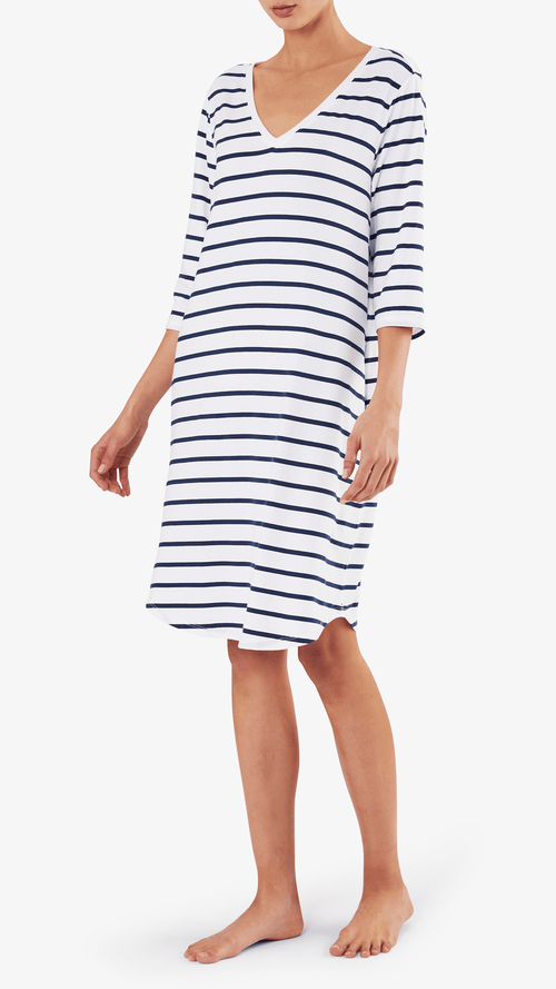 SKIN Mirielle dress in white / blueberry stripe