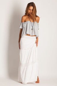 Soleil Blue || Rosemary maxi skirt in white