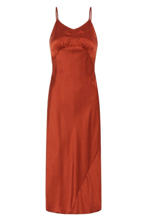 Spell Boudoir silk dress in copper