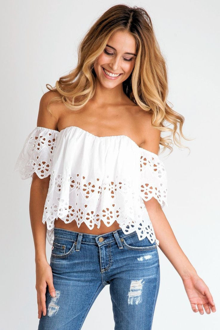 stone cold fox holy tube top in white eyelet  soleil blue -